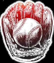 Baseball Glove With Ball Sticker