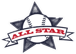 Baseball Or Softball All Star Sticker
