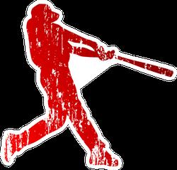 Baseball Player In Red Grunge Sticker