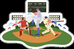 Baseball Player Throwing And Hitting A Ball Cartoon Sticker