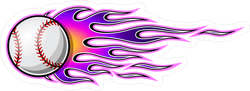 Baseball Softball With Purple Hot Rod Flames Sticker