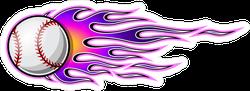 Baseball Softball With Purple Hot Rod Flames Sticker