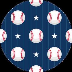 Baseball Sport Pattern Blue And Stars Sticker