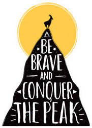 Be Brave And Conquer The Peak Lettering Goat Sticker