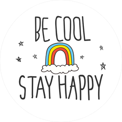 Be Cool Stay Happy Rainbow Sticker
