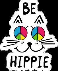 Be Hippie Cat Sticker