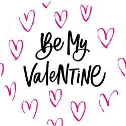 Be My Valentine Lettering With Hearts Sticker