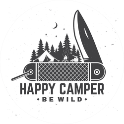 Be Wild Camping Pocketknife Sticker