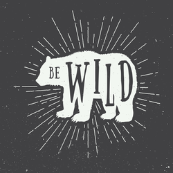 Be Wild Vintage Bear Sticker