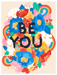 Be You Floral Doodle Sticker