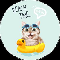 Beach Time Slogan With Cute Cat Sticker