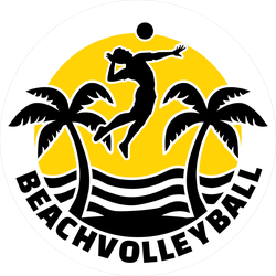 Beach Volleyball Emblem Circle Sticker