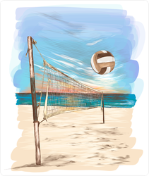 Beach Volleyball Landscape Painting Sticker