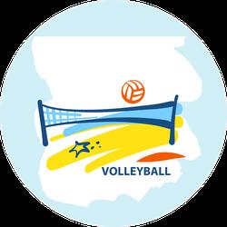 Beach Volleyball Stylized Sticker