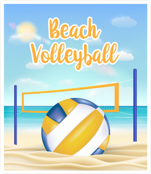 Beach Volleyball Text On Sandy Beach Sticker