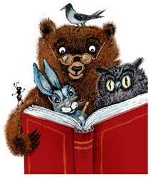 Bear, Hare, Owl, Crow And Ant Read Cartoon Illustration Sticker