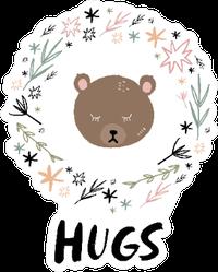 Bear Hugs Floral Illustration Sticker