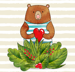 Bear In Striped Sailor Suit With Heart Sticker