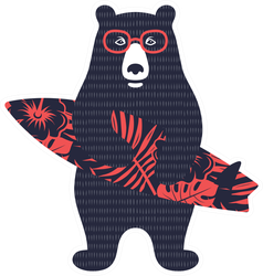 Bear Surfer Sticker
