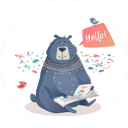 Bear With A Book Of Fairy Tales Sticker