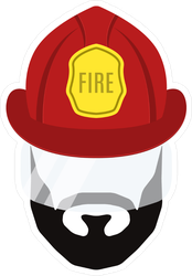 Bearded Firefighter Icon Sticker