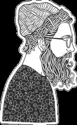 Bearded Man In A Hat Line Art Sticker