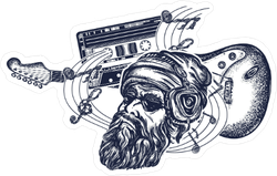 Bearded Music Man Sticker