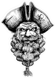 Bearded Pirate Illustration Sticker