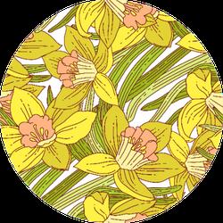 Beautiful Arrangement Of Spring Daffodils Pattern Sticker