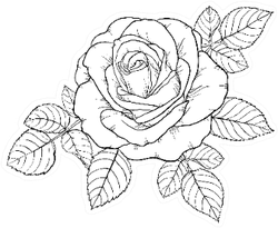 Beautiful Black And White Rose And Leaves Sticker