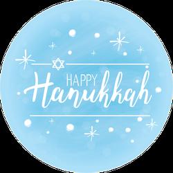 Beautiful Blue Happy Hanukkah Sticker