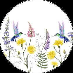 Beautiful Botanical Floral Meadow Of Hummingbirds Sticker