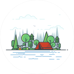Beautiful Campsite By River Sticker