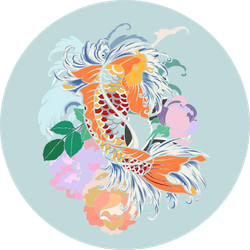 Beautiful Design Koi Fish With Flower Background Sticker