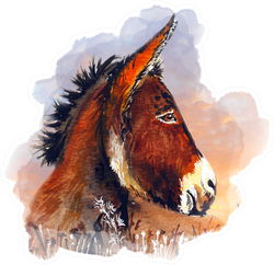 Beautiful Donkey Water Color Illustration Sticker