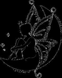 Beautiful Fairy Sitting On The Moon Sticker
