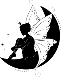 Beautiful Fairy Sitting On The Moon Sticker
