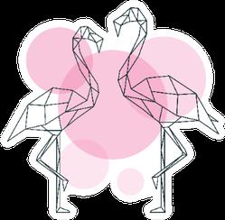 Beautiful Flamingo Illustration In Geometric Style Sticker