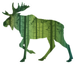Beautiful Forest Silhouette Of A Running Moose Sticker