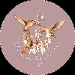 Beautiful Gold Hummingbirds Dream Garden Sticker