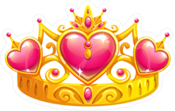 Beautiful Golden Princess Crown Sticker