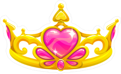 Beautiful Golden Princess Crown With Pink Hearts Sticker