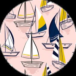 Beautiful Hand Drawing Pattern With Sailing Ships Sticker