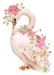 Beautiful Hand Drawn Watercolor Dreaming Swan Sticker