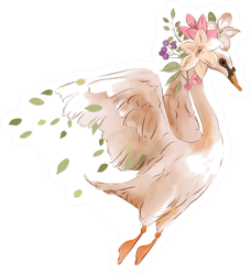 Beautiful Hand Drawn Watercolor Flying Swan Sticker