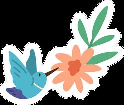 Beautiful Humming Bird Flying Near Bright Blossomed Flower Sticker