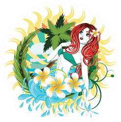 Beautiful Island Fijian Girl Sticker