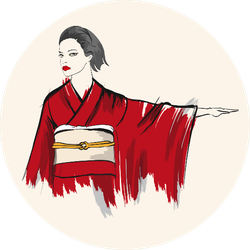 Beautiful Japanese Girl In Kimono Sticker