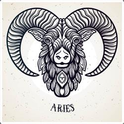 Beautiful Line Art Aries Sticker