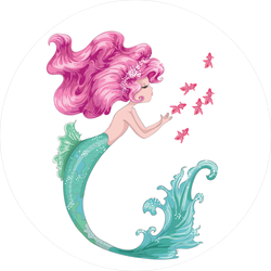 Beautiful Mermaid with Pink Hair and Fish Sticker